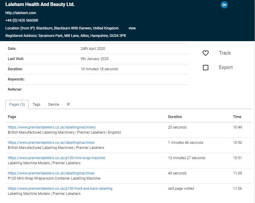 a1webtats visiting companies example detail view April 2020