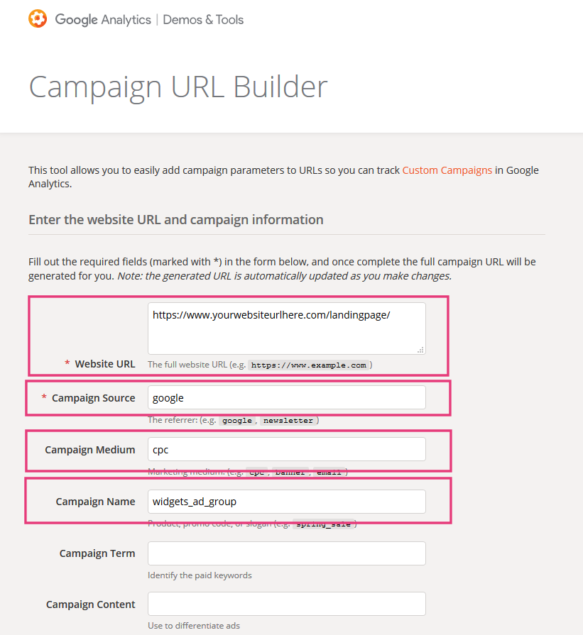Google Ads url builder 1