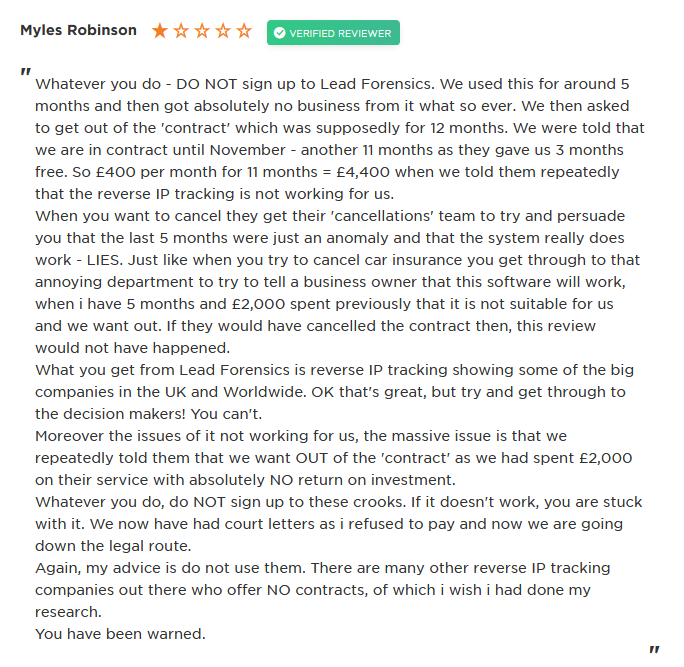 lead forensics complaint July 2019 reviewsio