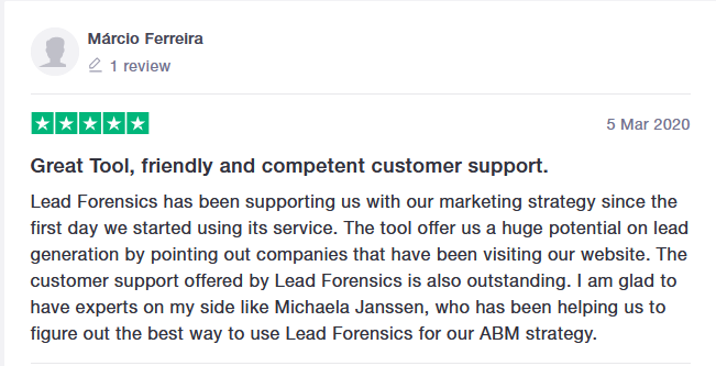 lead forensics good review on trustpilot 2