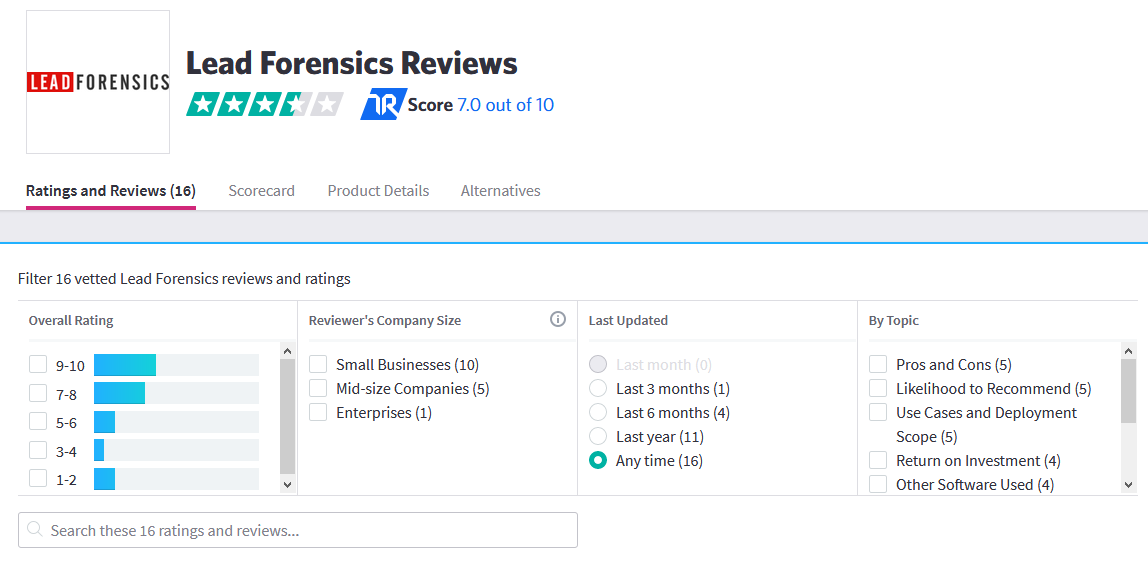 Lead Forensics Trustpilot review view