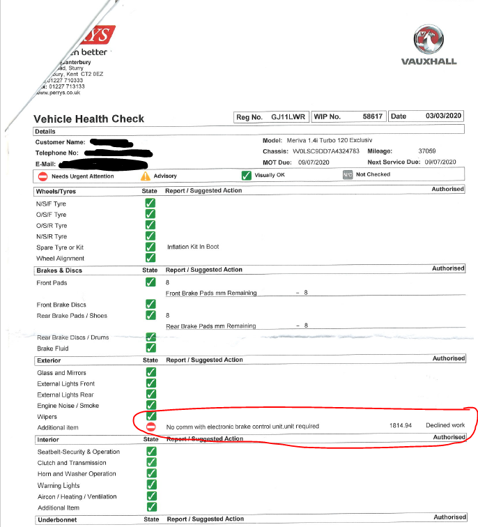 Perrys Vauxhall Canterbury misdiagnosis for EBCM replacement
