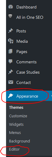 WordPress Appearance Editor